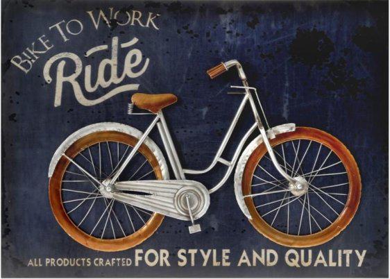 Ποδήλατο μεταλλικό διακοσμητικό πάνω σε πίνκα Η-147619