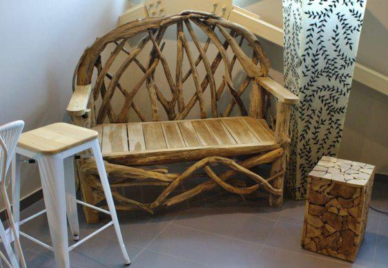Διθέσιος Καναπές - Πάγκος από Φυσικό Ακατέργαστο Ξύλο J-220506