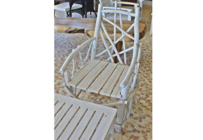 Πολυθρόνα Λευκή από Κλαριά Τροπικού Δέντρου J-227051