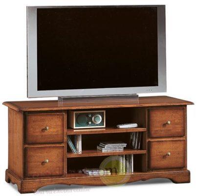 Παραδοσιακό Κλασσικό Έπιπλο Τηλεόρασης με Ράφια και Συρτάρια ΤΕ-131559