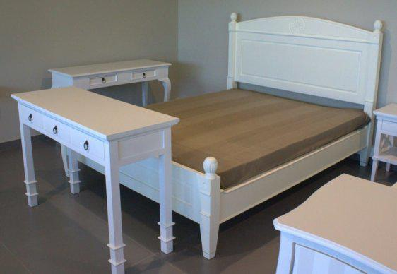 Λευκό Διπλό Κρεβάτι Μαόνι Ήλιος J-127615