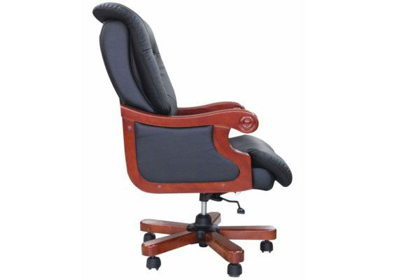 Στιβαρή Διευθυντική Πολυθρόνα Γραφείου με Ξύλινη Βάση G-080391
