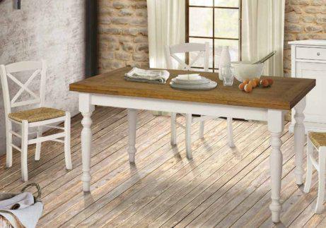 Παραλληλόγραμμο τραπέζι country λευκό με ξύλινη επιφάνεια ΤΕ-122058