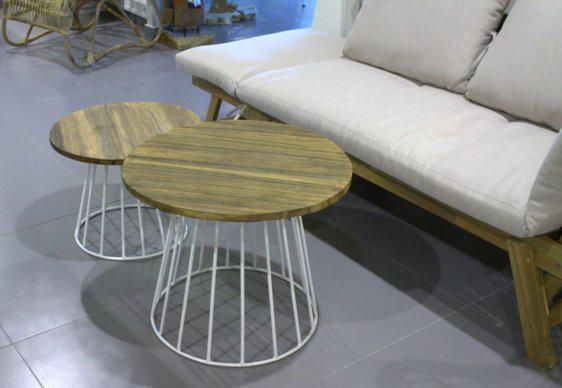 Διαδοχικά Τραπέζια Καθιστικού 3τμχ με Μεταλλική Βάση Basket J-146558