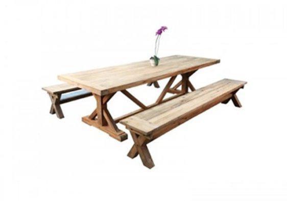 Χωριάτικο Ξύλινο Μασίφ Τραπέζι Σε Πολλές Διαστάσεις J-146556