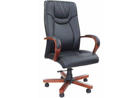 Πολυθρόνα Γραφείου Τροχήλατη με Ξύλινη Βάση G-080390