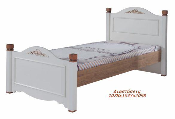 Κρεβάτι μονό Country λευκό με ξύλο