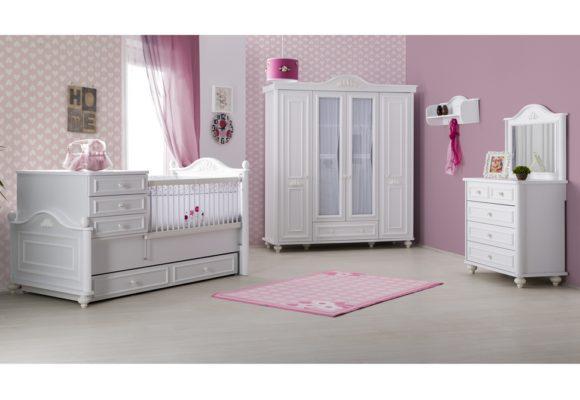 Κοριτσίστικο Vintage Δωμάτιο με Κούνια που Γίνεται Κρεβάτι Bella