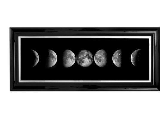 """Μαύρος Μοντέρνος Πίνακας """"Στάδια Σελήνης"""" Η-210584"""