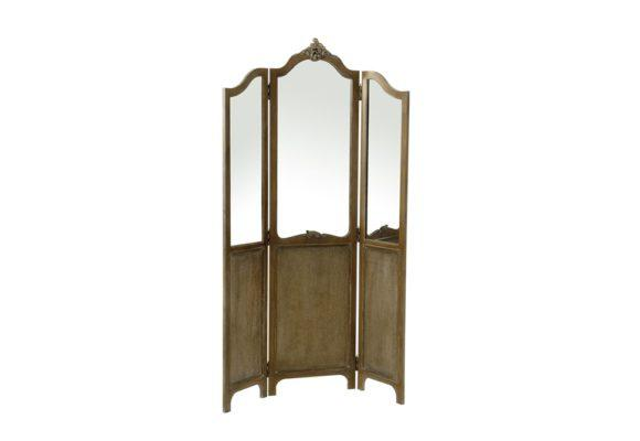 Ξύλινο Παραβάν Τρίπτυχο με Καθρέφτες 124ΜΧ190Υ  Η-148003