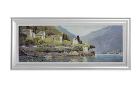 """Μακρόστενος Καμβάς με Κάδρο """"Σπίτια στην Λίμνη"""" Η-210583"""