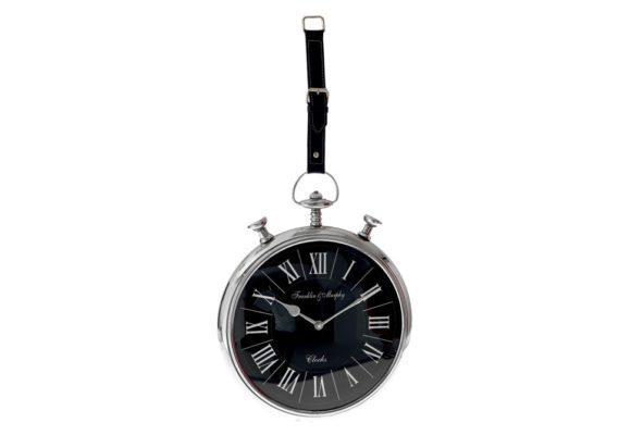 Ρολόι Τοίχου με Μαύρο Δερμάτινο Λουρί Η-147621