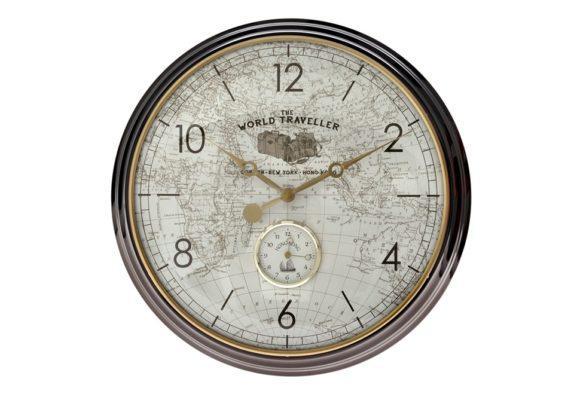 Μεγάλο Ρολόι Τοίχου με Χάρτη για το Σαλόνι Η-147620