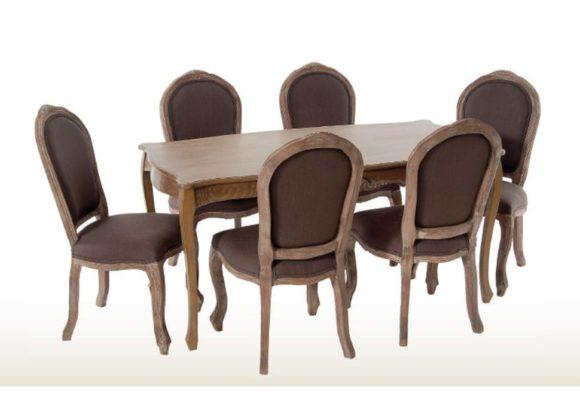 Νεοκλασική Καρέκλα με Καφέ Ύφασμα Η-135131