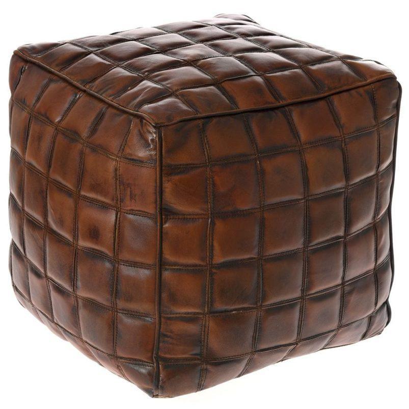 Πουφ από Γνήσιο Δέρμα και Μοτίβο Τετράγωνα Η-315130