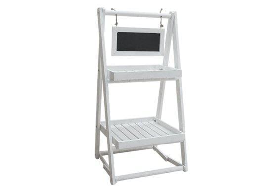 Λευκή ξύλινη ραφιέρα με πινακίδα Μ-217102
