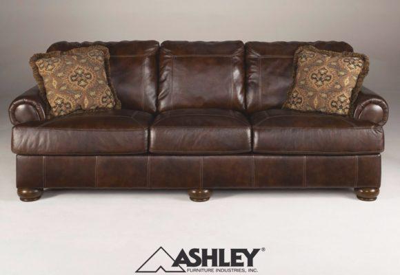 Αρχοντικός Τριθέσιος Καφέ Καναπές από Γνήσιο Δέρμα G-105032