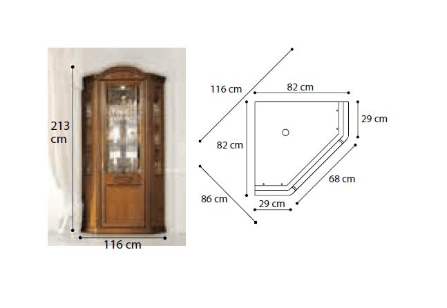 Γωνιακή Βιτρίνα Με  Μαρκετερί Σχέδιο από Ξύλο Λεμονιάς CG-126660