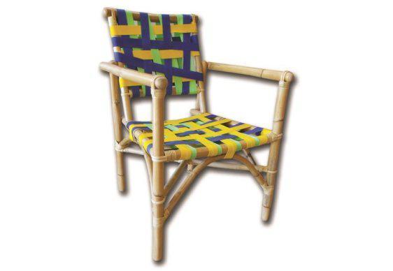 Καρέκλα Πολυθρόνα Ξύλου Rattan με Πολύχρωμη Πλέξη Ε-225044