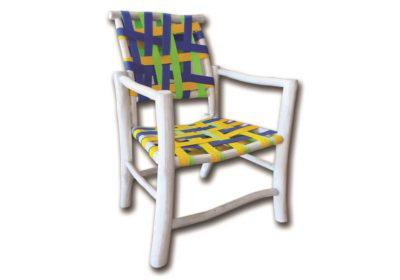 Καρέκλα από Ξύλο Teak με Πολύχρωμη Πλέξη Ε-227055