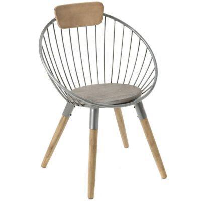 Καρέκλα Industrial Από Ξύλο και Μέταλλο Η-190165