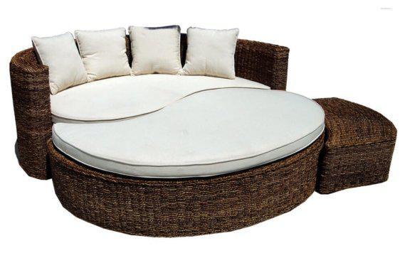 Στρογγυλή Ξαπλώστρα Κρεβάτι με Πλέξη από Ξύλο Rattan E-222024