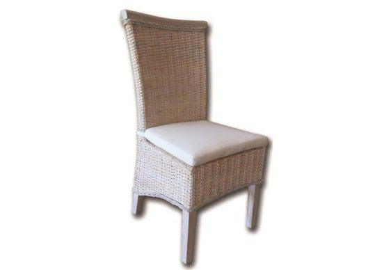 Πλεχτή Καρέκλα σε Λευκή Απόχρωση από Ξύλο Rattan E-225043