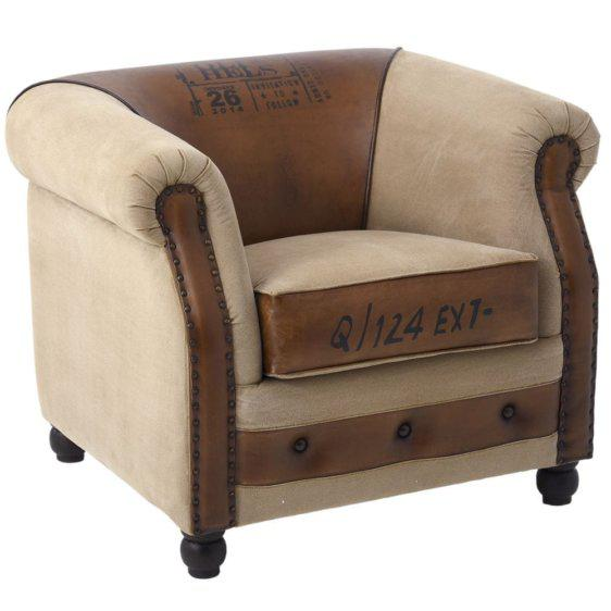 Country Πολυθρόνα με Καφέ Δέρμα Η-123857