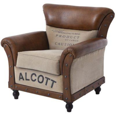 Vintage Πολυθρόνα με Καφέ Δέρμα Η-123586