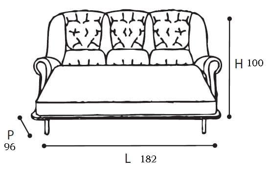 Τριθέσιος Πολυτελής Καναπές Με Κρύσταλλα CG-105037