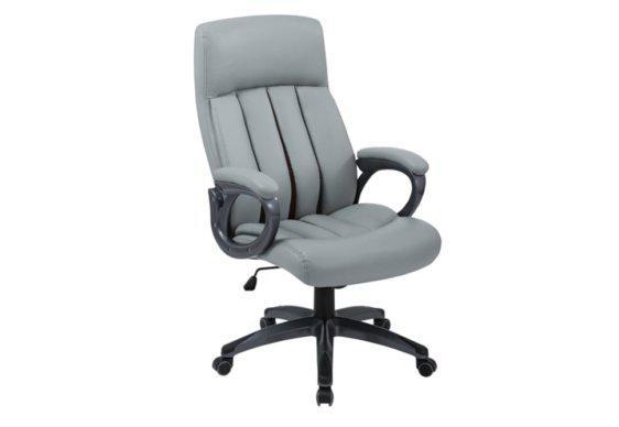 Διευθυντική Καρέκλα Γραφείου από Δερματίνη σε Γκρι Χρώμα 080457