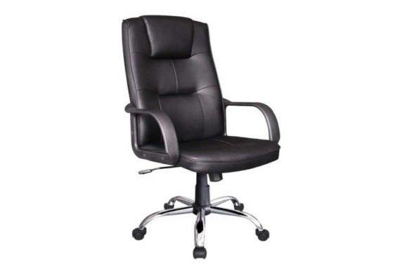 Πολυθρόνα Γραφείου από Δερματίνη σε Μαύρο Χρώμα Ζ-080435