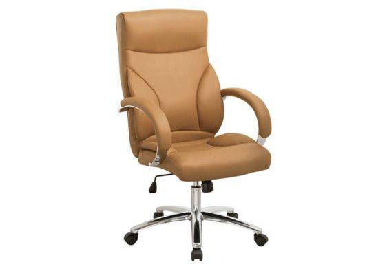 Καρέκλα Γραφείου από Δερματίνη με Μπράτσα από Ανοξείδωτο Ατσάλι σε Ταμπά Χρώμα 080453