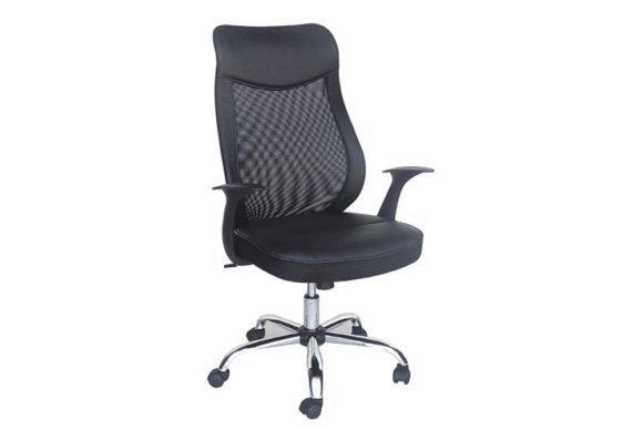 Μαύρη Καρέκλα Γραφείου από Δερματίνη και Ύφασμα Mesh Ζ-080429