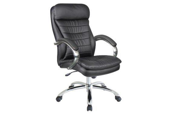 Άνετη Πολυθρόνα Γραφείου από Δερματίνη σε Μαύρο Χρώμα 080450