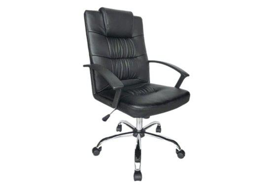 Καρέκλα Γραφείου από Τεχνόδερμα σε Μαύρο Χρώμα Ζ-080442