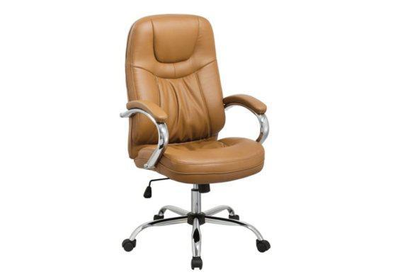 Ταμπά Καρέκλα Γραφείου από Δερματίνη και Βάση από Χρώμιο 080455