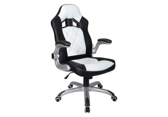 Gaming Καρέκλα Γραφείου σε Λευκό και Μαύρο Χρώμα 080445