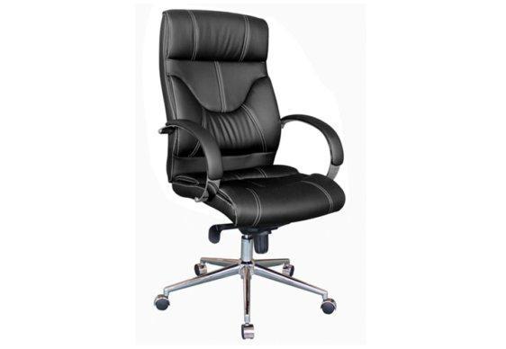 Μαύρη Πολυτελής Καρέκλα Γραφείου με Μπράτσα από Χρώμιο 080451