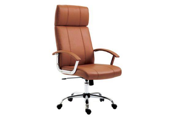 Καφέ Καρέκλα Γραφείου από Δερματίνη με Ψηλή Πλάτη 080449