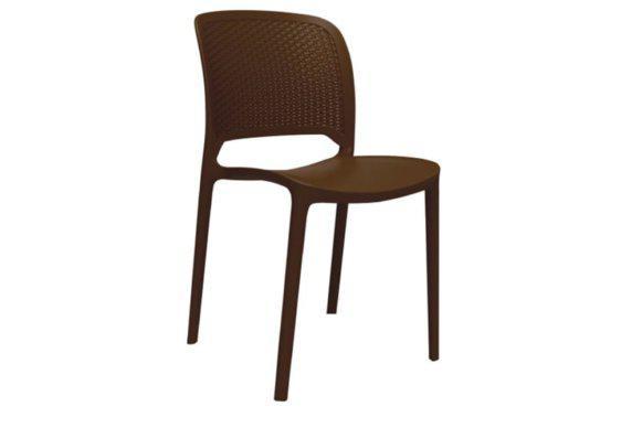 Καρέκλα με Ανάγλυφη Στυλάτη Πλάτη σε Καφέ Χρώμα Z-222068
