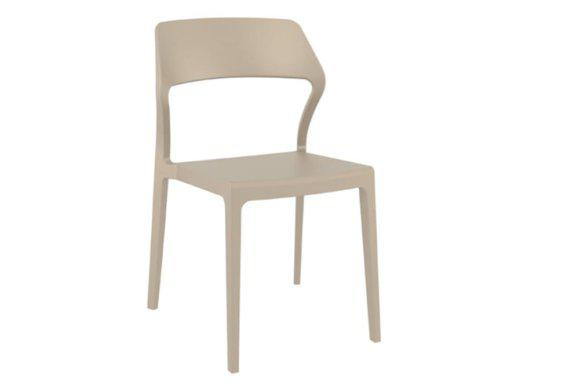 Μπεζ Καρέκλα με Τετράγωνο Σχήμα από Πολυπροπυλένιο Z-222063