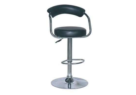 Μαύρο Σκαμπό με Πλάτη και Κάθισμα από Δερματίνη Z-401118