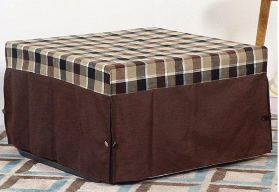 Σκαμπό Κρεβάτι σε Σχήμα Κύβου και Καρό Απόχρωση Ζ-315131