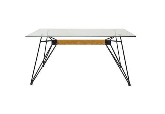 Γυάλινο Τραπέζι με Μεταλλικό Σκελετό και Ψημένα Κρύσταλλα Ασφαλείας V-123010