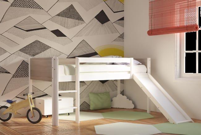 Παιδικό Κρεβάτι με Τσουλήθρα Μασίφ Οξιά S-280043