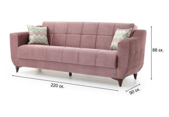 Τριθέσιος Καναπές Κρεβάτι σε Ροζ Παστέλ Απόχρωση Φ-105051