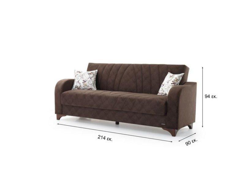 Τριθέσιος Καναπές Κρεβάτι με Όμορφο Σχέδιο σε Καφέ Χρώμα Φ-105049