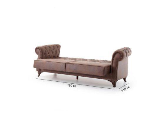 Κλασσικός Τριθέσιος Καναπές Κρεβάτι με Καπιτονε Πλάτη σε Καφέ Χρώμα Φ-105043