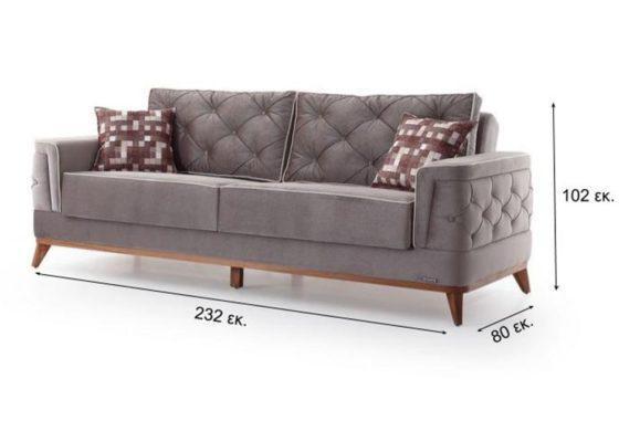 Κλασσικός Τριθέσιος Καναπές Κρεβάτι με Καπιτονέ σε Γκρι Χρώμα Φ-105047